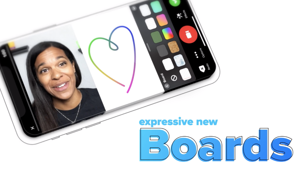 Photo of Flipgrid Phone App showing split screen feature with video of a woman talking on one side and a whiteboard on the other side