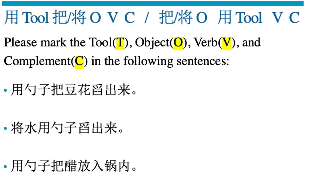 Grammar Exercise 1: Marking a sentence pattern