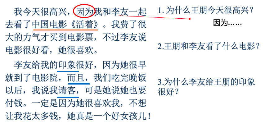 Reading activity (student annotations shown in red and blue)