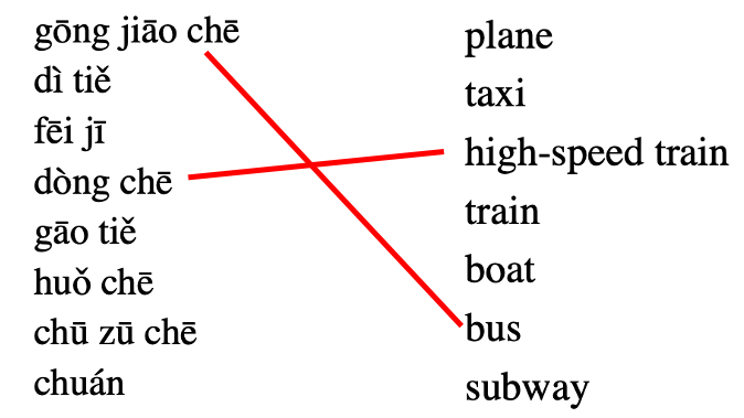 Vocabulary Exercise 2: Match each word with its meaning (student annotations shown in red)