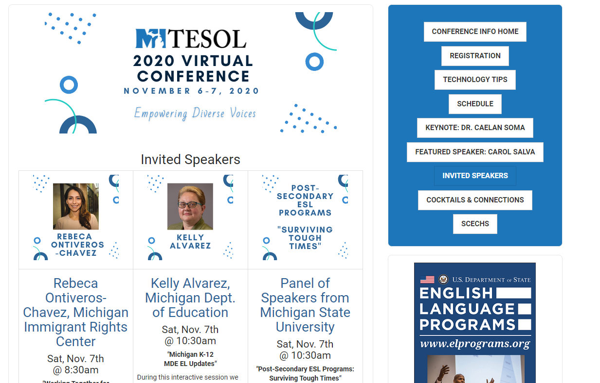 ELC Faculty as Invited Speakers at MITESOL 2020