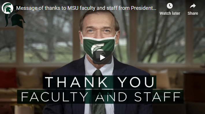 Message of thanks to MSU faculty and staff from President Stanley