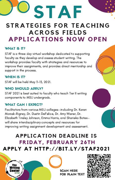 Strategies for Teaching Across Fields Workshop Applications Open!