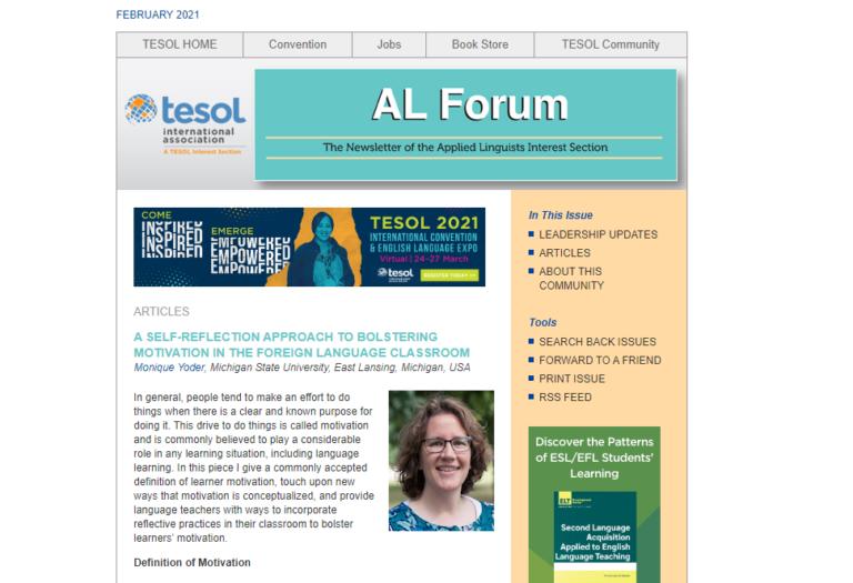 Monique Yoder Publishes with TESOL Applied Linguistics Interest Section.